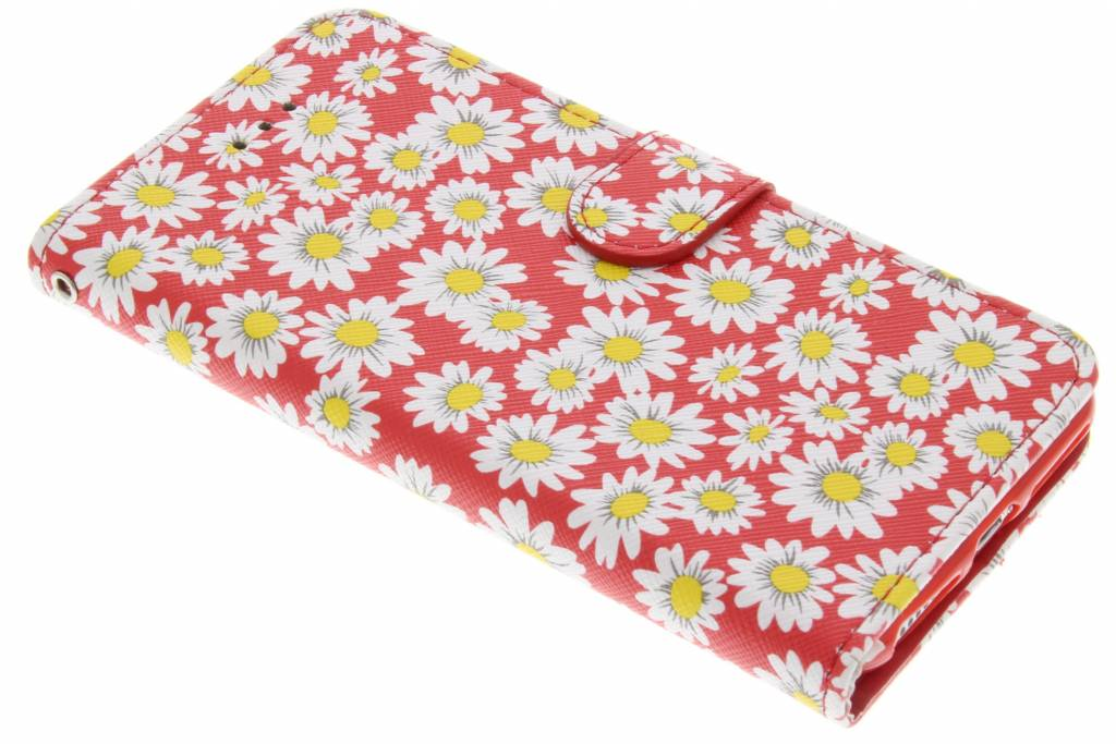 Rode daisy TPU booktype hoes voor de iPhone 7 Plus