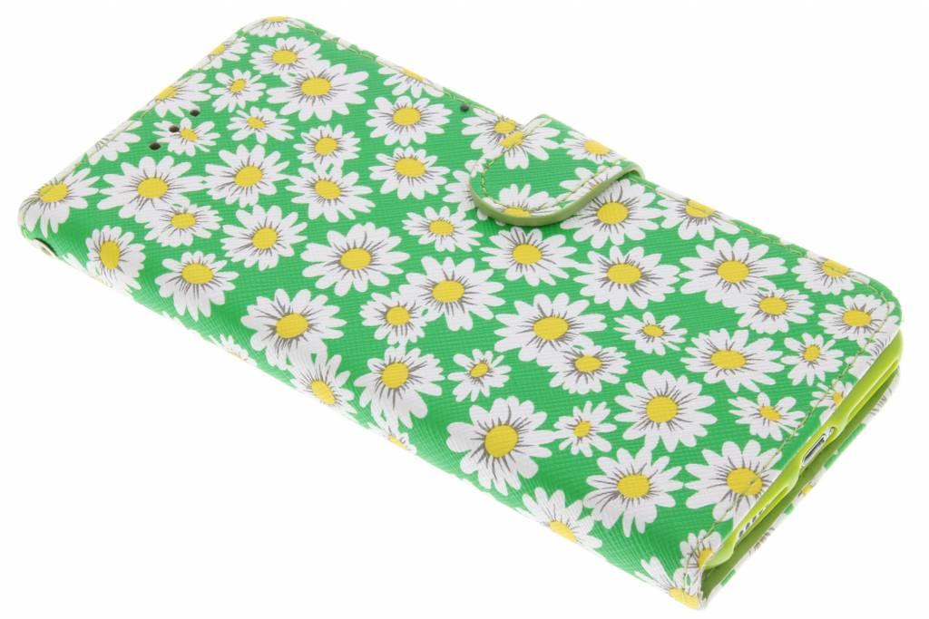 Groene daisy TPU booktype hoes voor de iPhone 7 Plus
