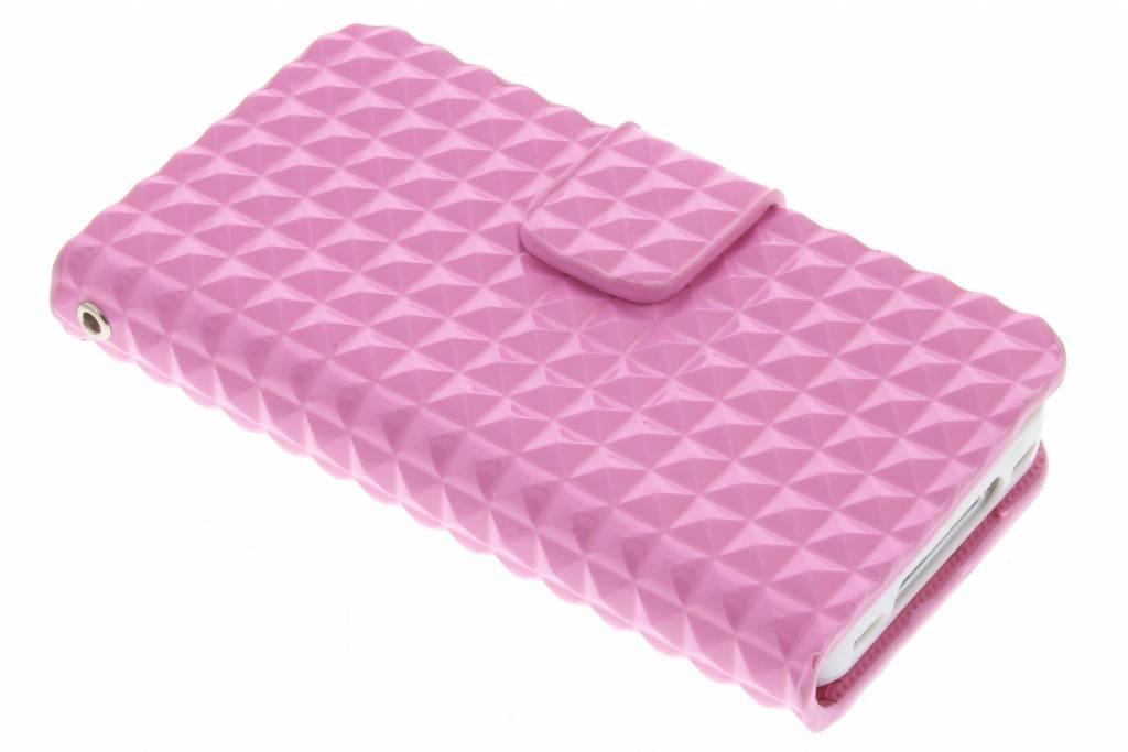 Roze TPU studs booktype hoes voor de iPhone 4 / 4s