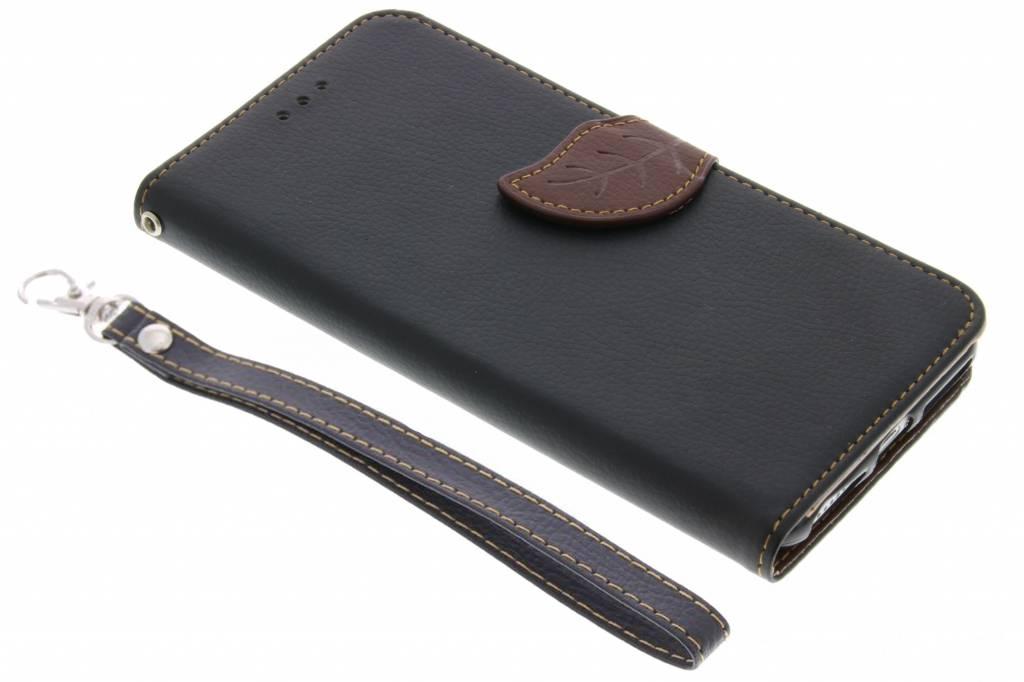 Zwarte Blad design TPU booktype hoes voor de iPhone 8 Plus / 7 Plus