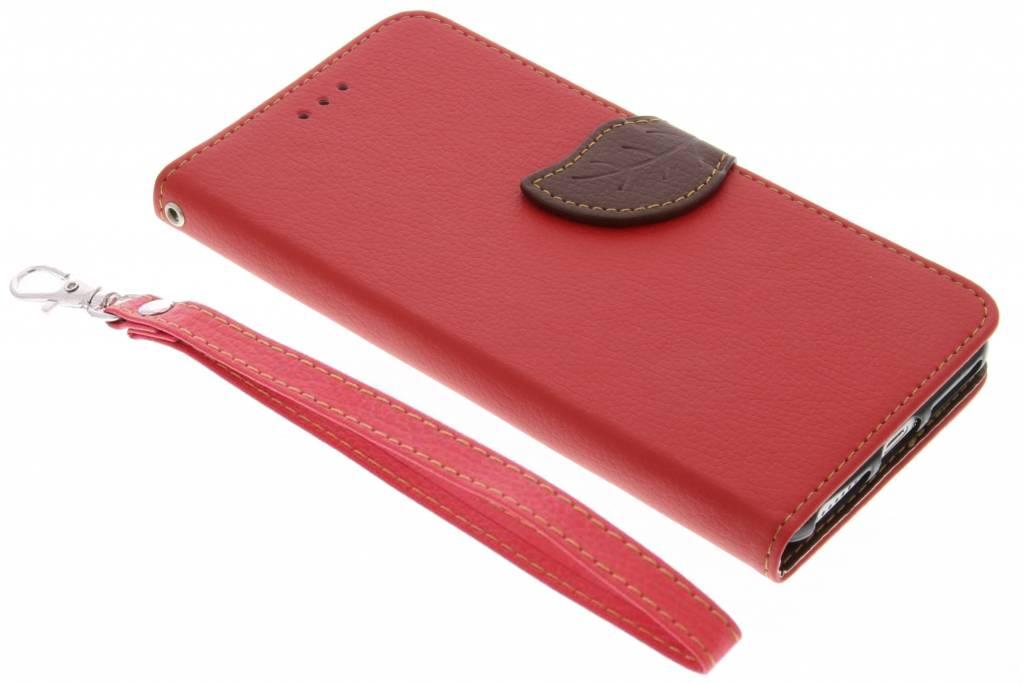 Rode blad design TPU booktype hoes voor de iPhone 8 Plus / 7 Plus