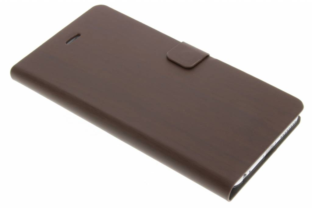 Donkerbruine hout design booktype hoes voor de iPhone 6(s) Plus