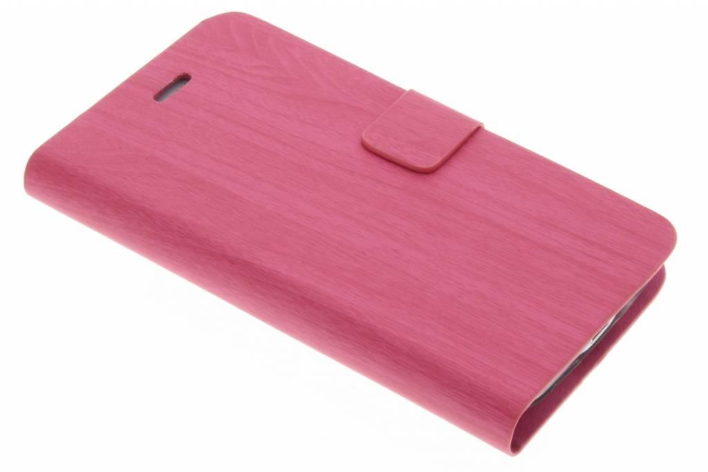 Fuchsia hout design booktype hoes voor de Samsung Galaxy S5 Mini