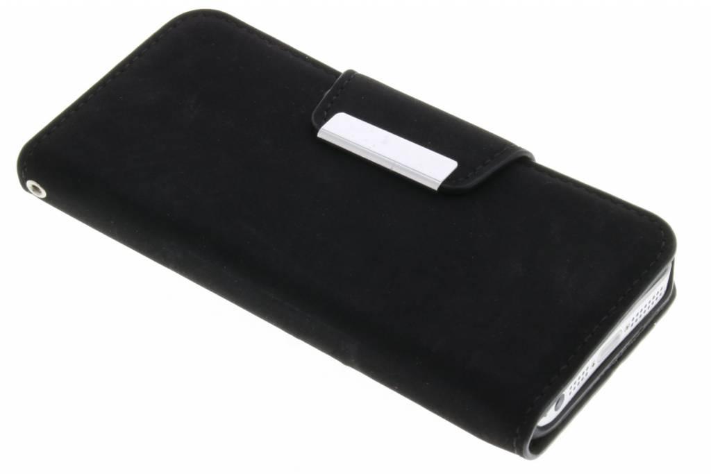 Zwarte premium suède booktype hoes iPhone 5 / 5s / SE