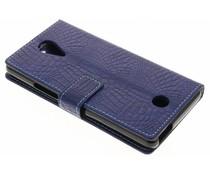 Blauw krokodil TPU booktype hoes Wiko Tommy