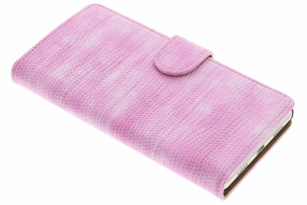 Roze Hagedis design booktype hoes voor de Huawei P8 Lite