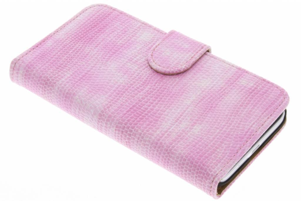 Roze hagedis design booktype hoes voor de Huawei Ascend Y55