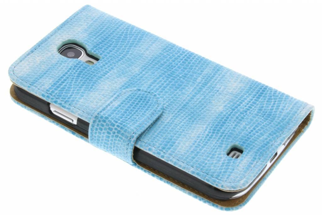 Turquoise hagedis design booktype hoes voor de Samsung Galaxy S4