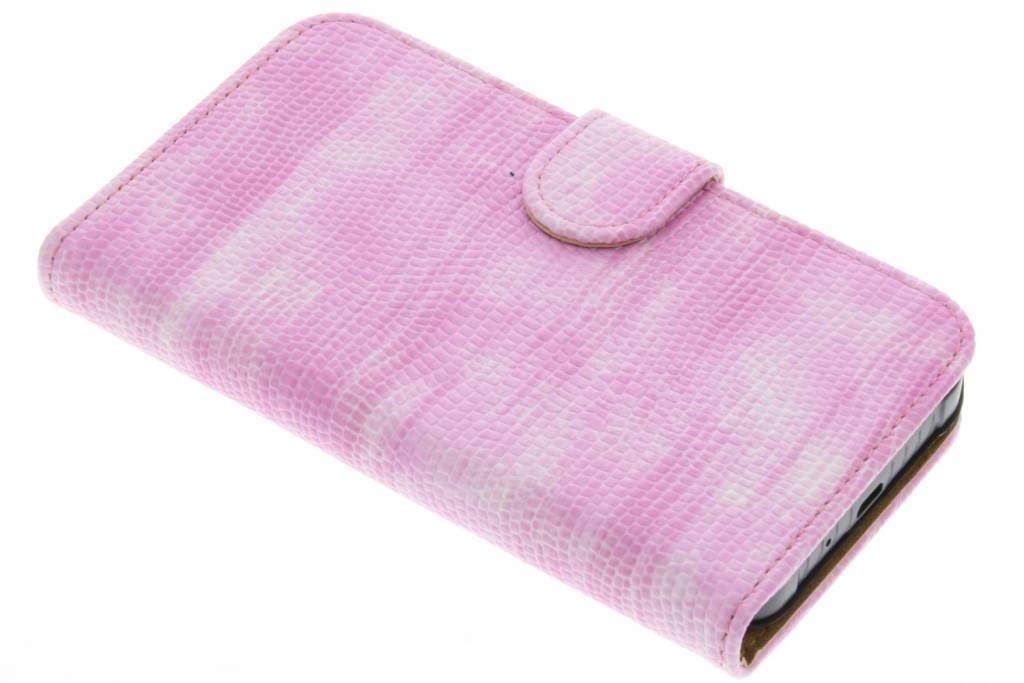 Roze hagedis design booktype hoes voor de Samsung Galaxy Xcover 3
