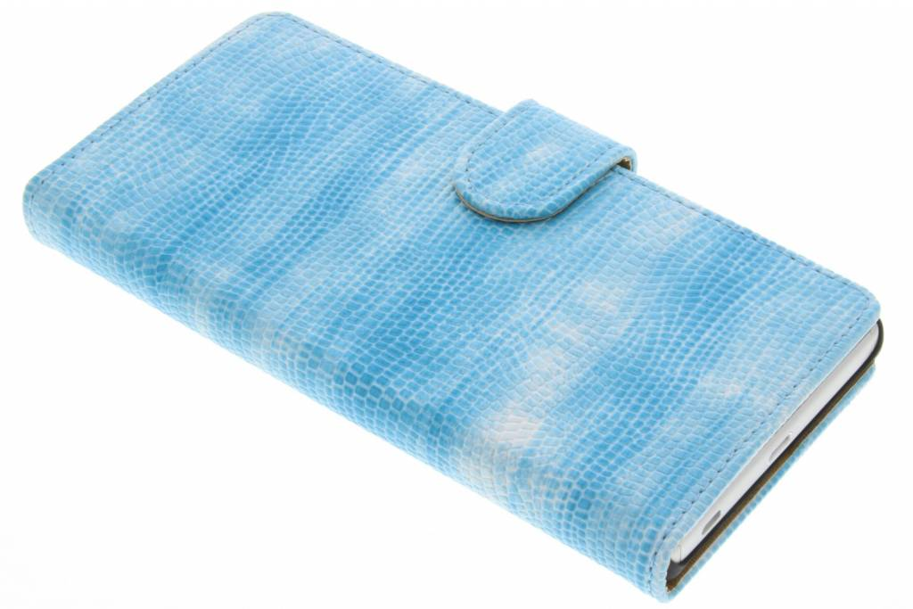 Turquoise hagedis design booktype hoes voor de Sony Xperia Z5