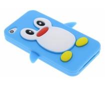 Blauw pinguin siliconen hoesje iPhone 4 / 4s