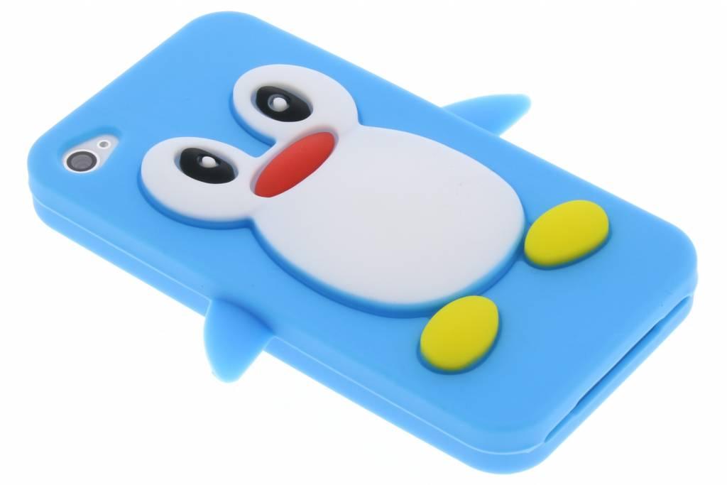 Blauw pinguin siliconen hoesje voor de iPhone 4 / 4s