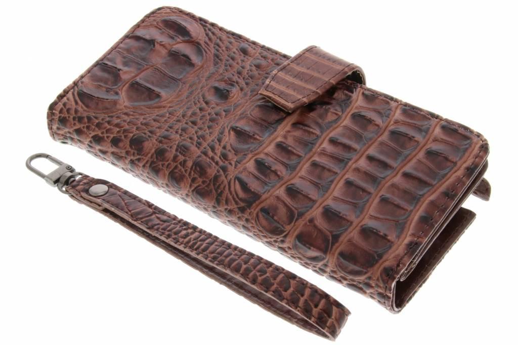 Bruine Krokodil Wallet Case voor de Samsung Galaxy Note 2