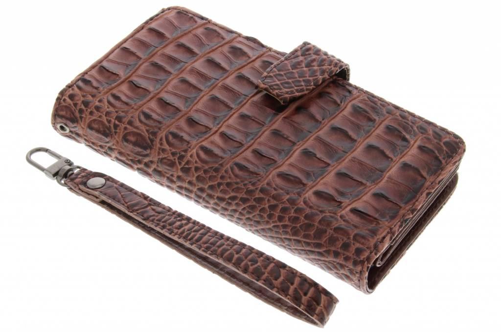 Bruine Krokodil Wallet Case voor de Google Pixel