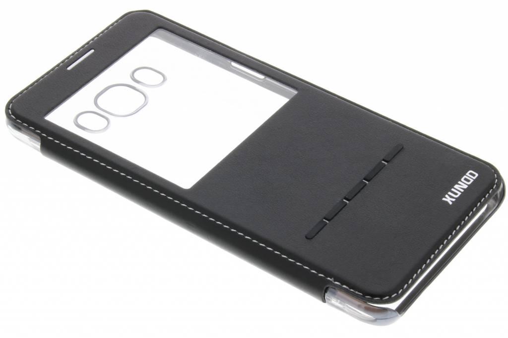 Zwarte crystal slim book case met venster voor de Samsung Galaxy J7 (2016)