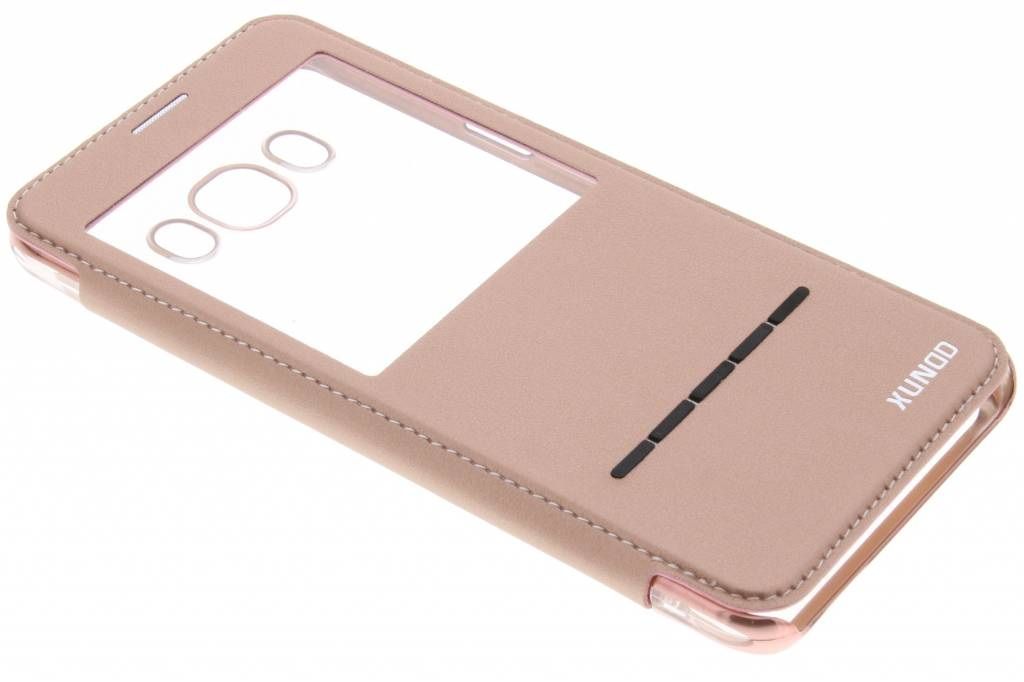Roze crystal slim book case met venster voor de Samsung Galaxy J7 (2016)