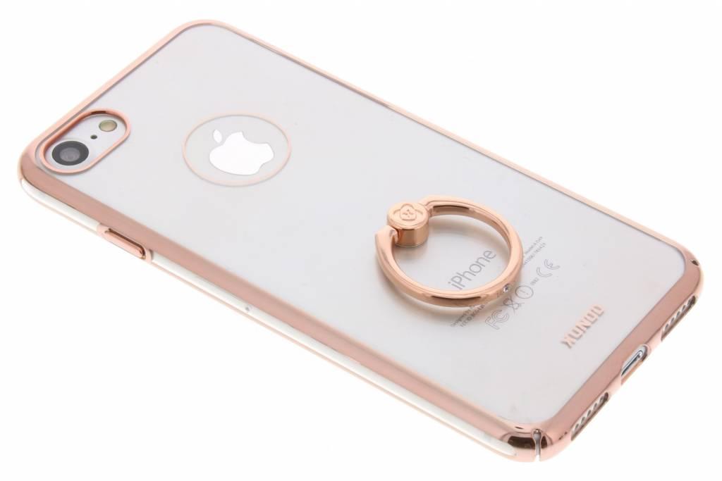 Rosé gouden transparant hardcase hoesje met ring iPhone 8 / 7