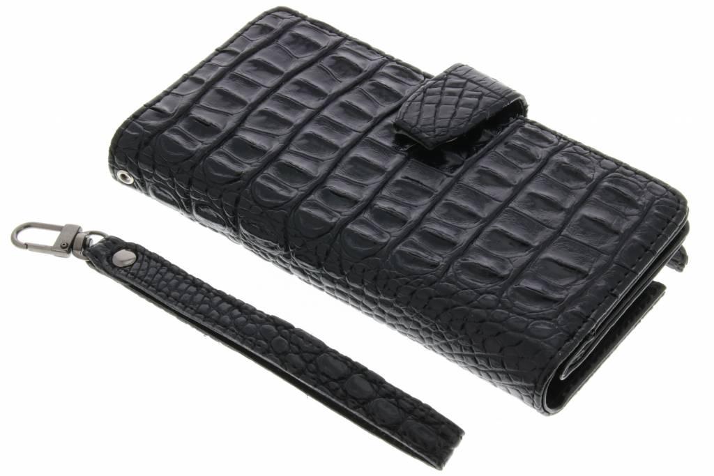 Zwarte Krokodil Wallet Case voor de Samsung Galaxy Note 2