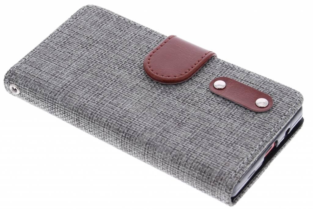 Donkergrijze linnen look booktype hoes voor de Sony Xperia Z5