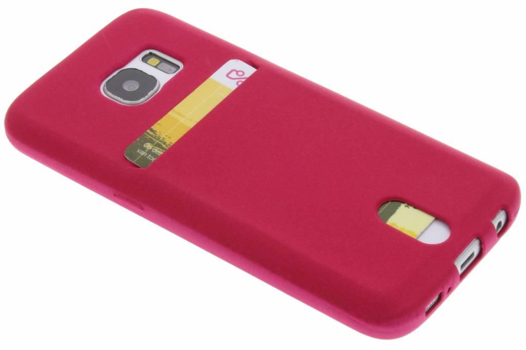 Fuchsia TPU siliconen card case voor de Samsung Galaxy S7
