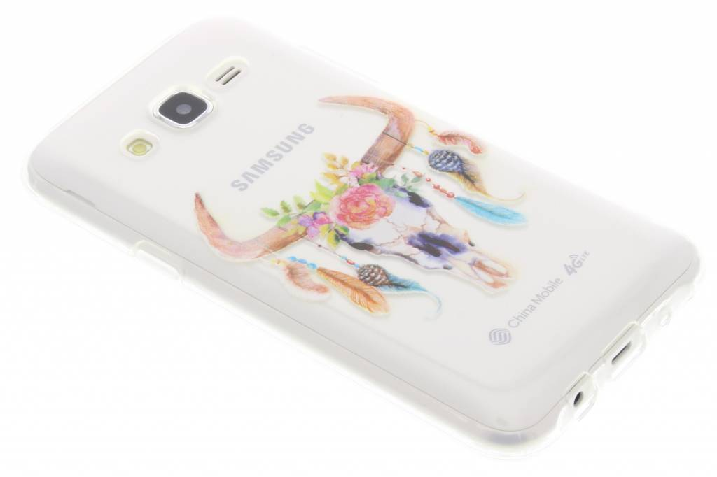 Bull Skull Feathers design TPU hoesje voor de Samsung Galaxy J5
