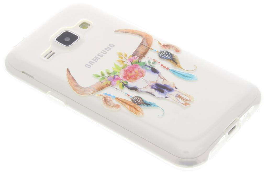 Bull Skull Feathers design TPU hoesje voor de Samsung Galaxy J1