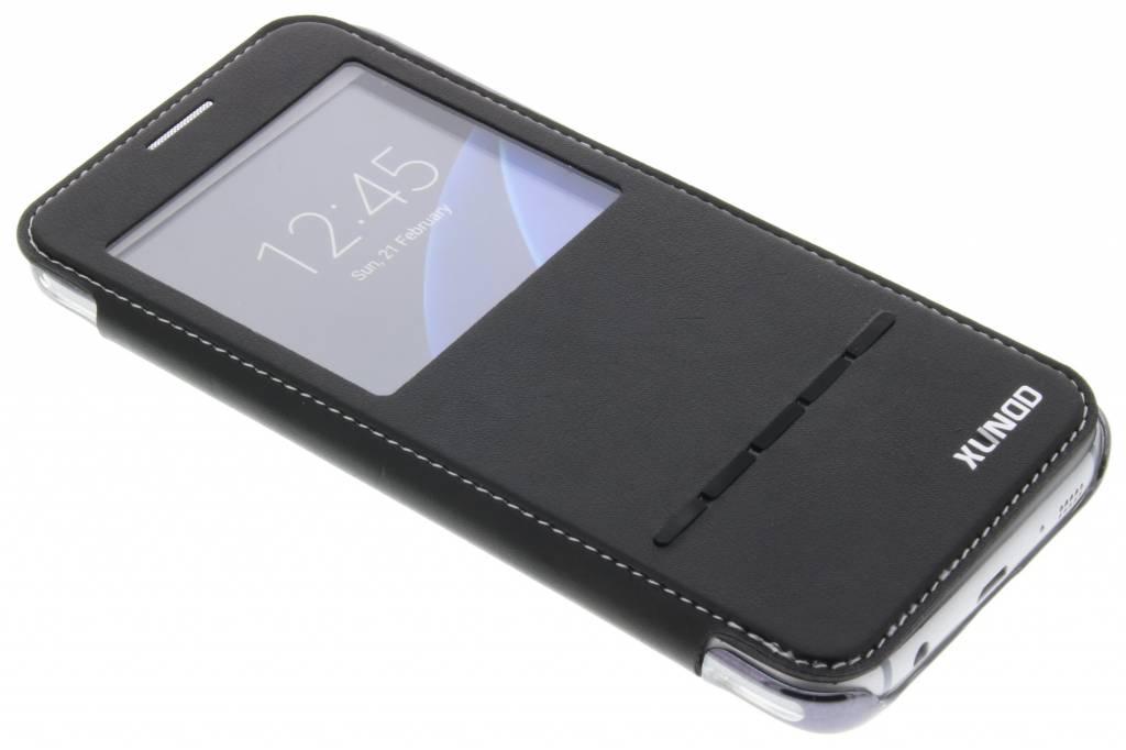 Zwarte crystal slim book case met venster voor de Samsung Galaxy S7