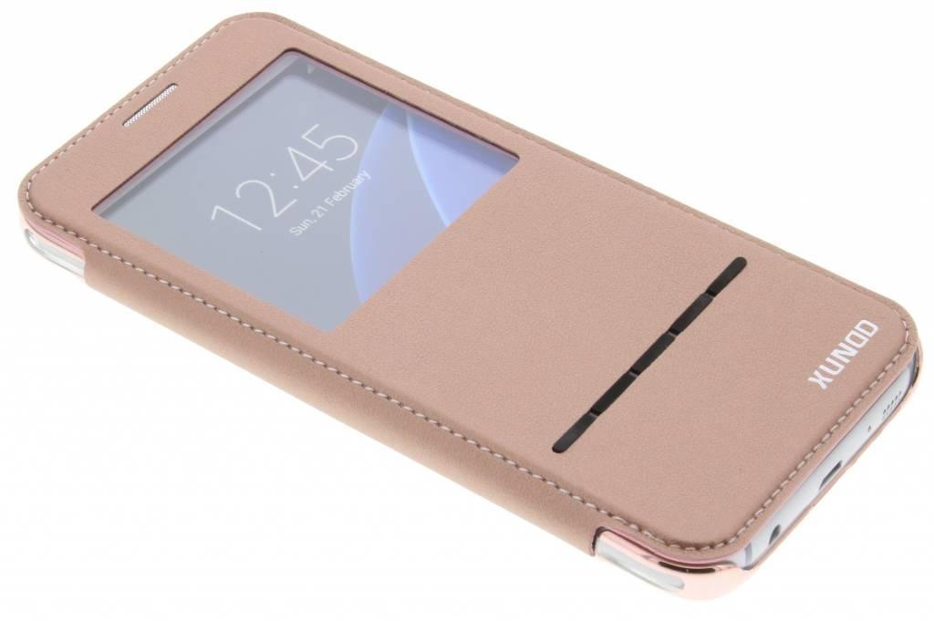 Roze crystal slim book case met venster voor de Samsung Galaxy S7