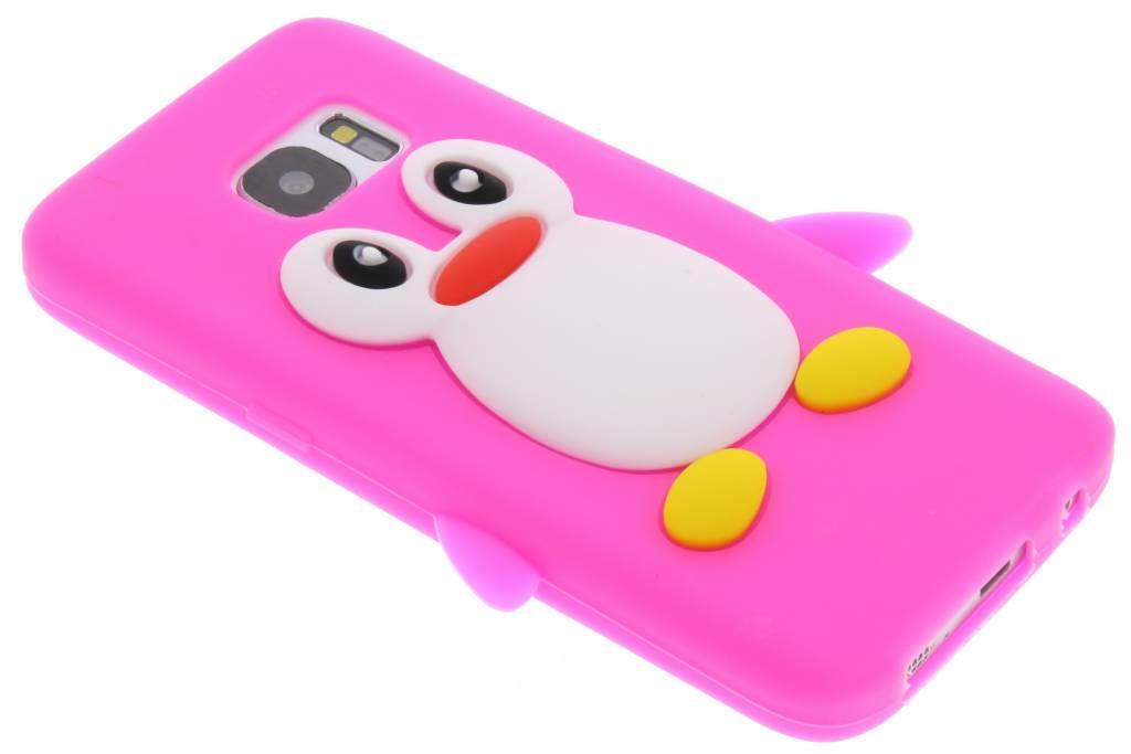 Fuchsia pinguin siliconen hoesje voor de Samsung Galaxy S7