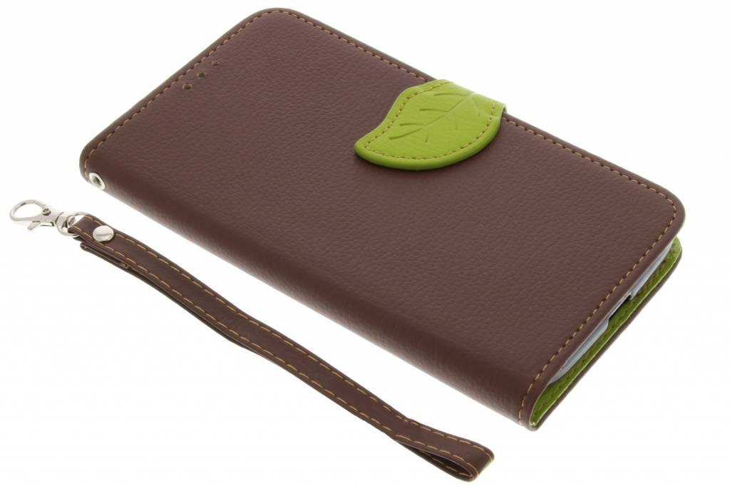 Bruine blad design TPU booktype hoes voor de Motorola Moto G4 (Plus)