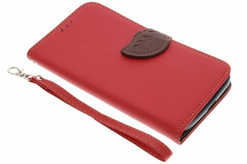 Rode blad design TPU booktype hoes voor de Motorola Moto G4 (Plus)