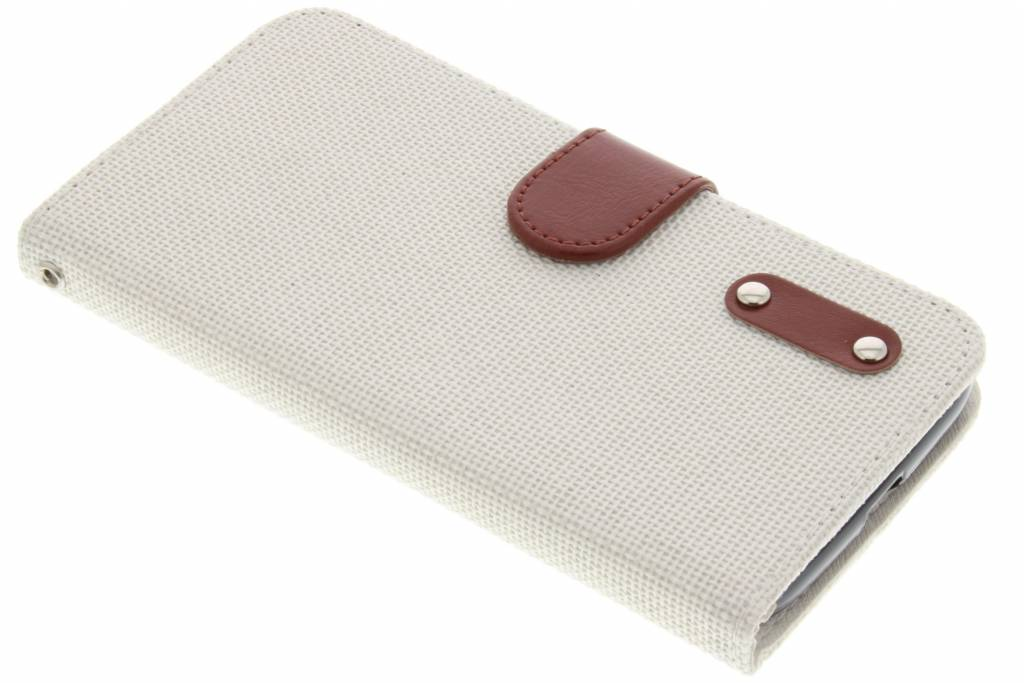 Witte linnen look TPU booktype hoes voor de Motorola Moto G4 (Plus)