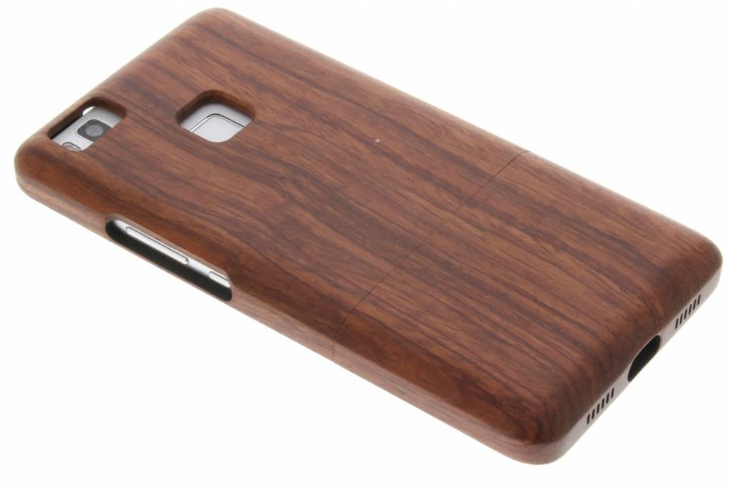Donkerbruin echt houten hardcase hoesje voor de Huawei P9 Lite