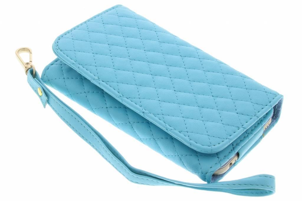 Turquoise universeel portemonnee telefoonhoesje van gestikt kunstleder (groot)