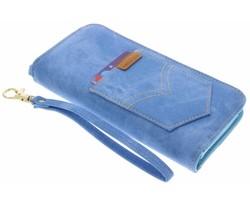 Blauw universeel Denim Jeans portemonnee hoesje maat L