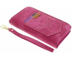 Fuchsia universeel Denim Jeans portemonnee hoesje maat M