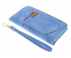Blauw universeel Denim Jeans portemonnee hoesje maat M