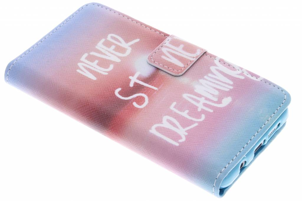 Never stop dreaming design TPU booktype hoes voor de Samsung Galaxy A3 (2016)