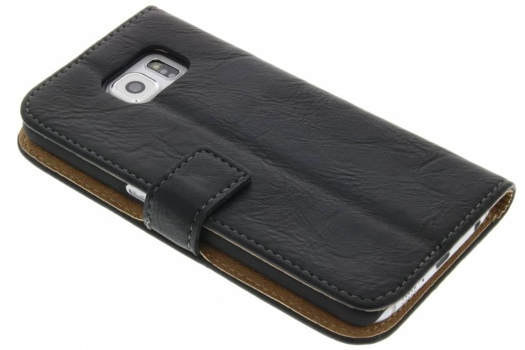 Zwarte kreukellederen booktype hoes voor de Samsung Galaxy S6