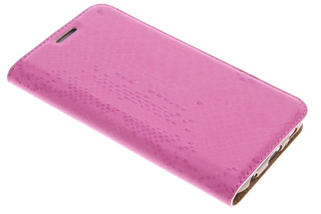 Roze luxe slangen TPU booktype voor de Samsung Galaxy S6