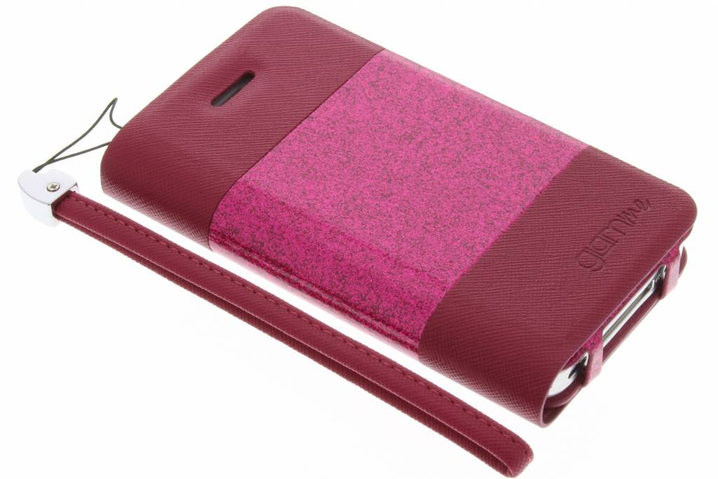 Celly Glitty booktype hoes voor de iPhone 4 / 4s - Fuchsia