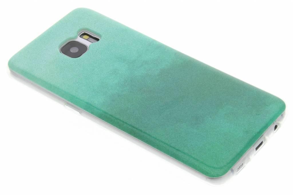 Groene glitter TPU softcase voor de Samsung Galaxy S7 Edge