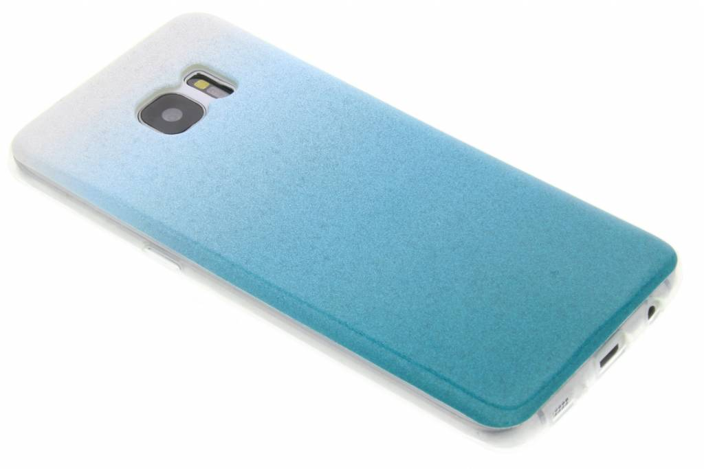 Turquoise glitter TPU softcase voor de Samsung Galaxy S7 Edge