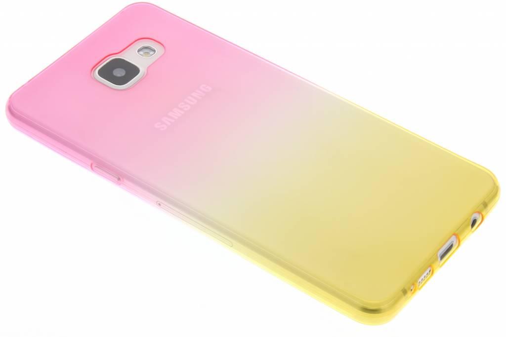 Roze/geel tweekleurig TPU siliconen hoesje voor de Samsung Galaxy A5 (2016)