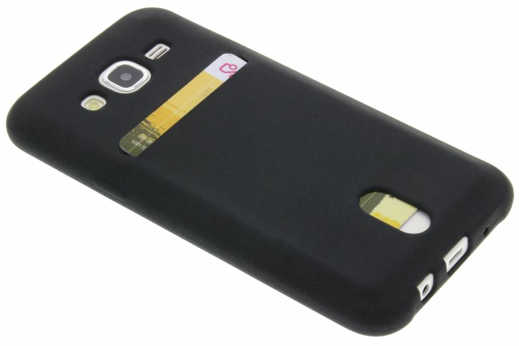 Zwarte TPU siliconen card case voor de Samsung Galaxy J5