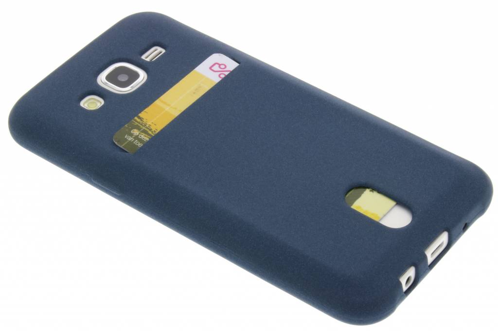 Blauwe TPU siliconen card case voor de Samsung Galaxy J5