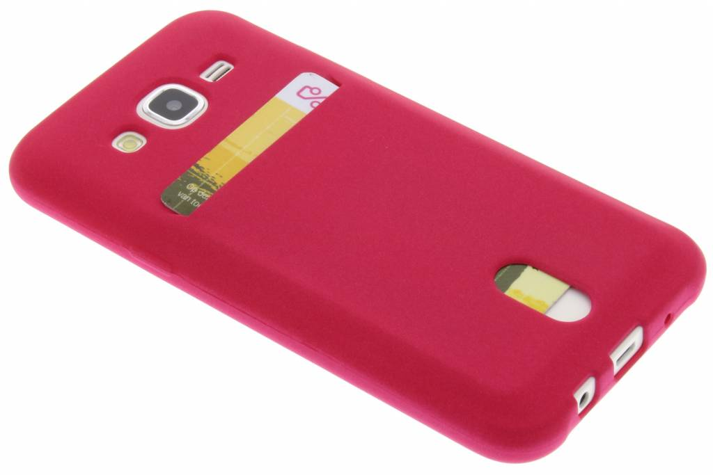 Fuchsia TPU siliconen card case voor de Samsung Galaxy J5