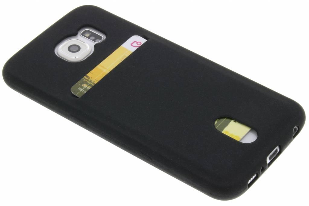 Zwarte TPU siliconen card case voor de Samsung Galaxy S6
