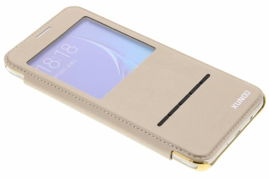 Gouden crystal slim book case met venster voor de Samsung Galaxy J5