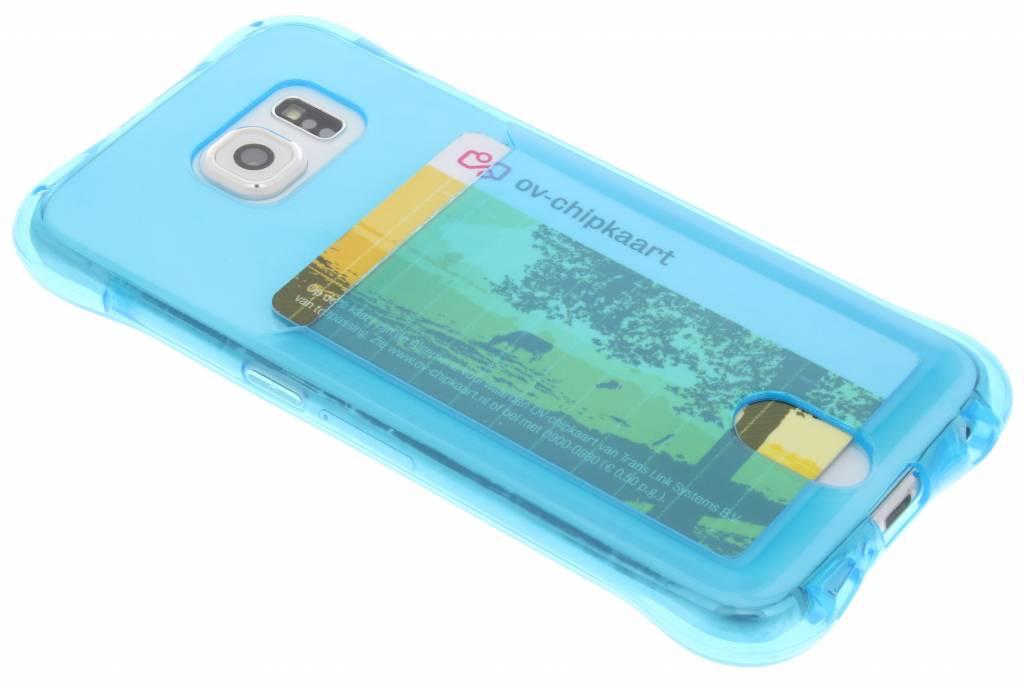 Blauw TPU hoesje met vakje voor de Samsung Galaxy S6